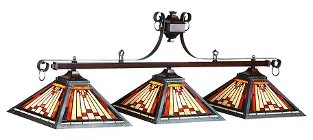 "Laredo Collection 3-Light 54"" Billiard Fixture with Stained Glass 25-B54"