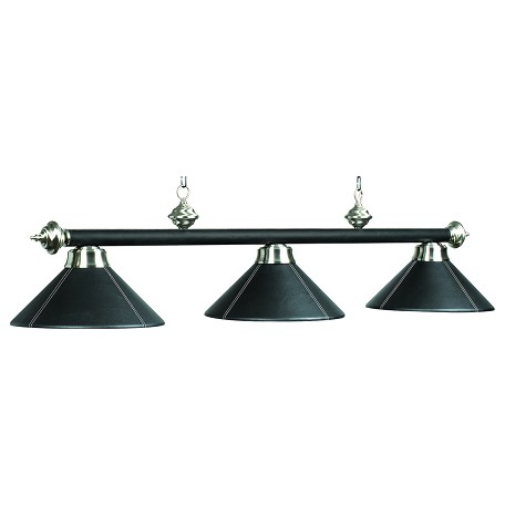"Leather Collection 3-Light 54"" Black Leather Billiard Fixture with Stainless Accents B54-LTHR BLK"