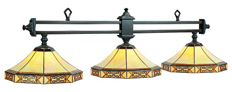 "Mission Collection 3-Light 56"" Filigree Billiard Fixture with Stained Glass MF-B56"