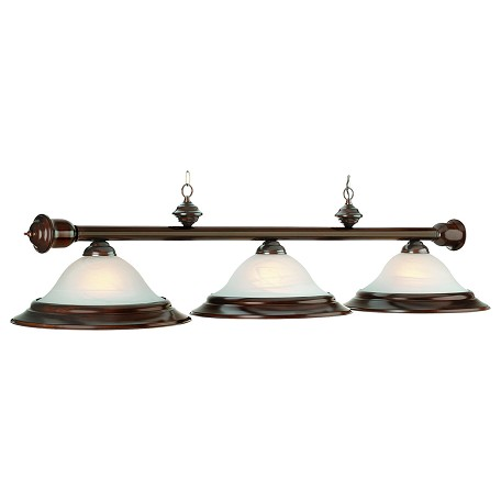 "Wood Collection 3-Light 60"" Mahogany Billiard Fixture with Glass Shades RG260 MAH"