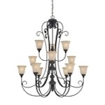 "Barrett Place Collection 12-Light 50"" Mocha Bronze Chandelier with Painted Etched Glass Shade 24212-MB"
