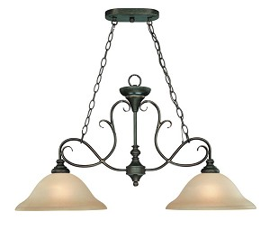 "Barrett Place Collection 2-Light 35"" Mocha Bronze Island Light with Painted Etched Glass Shade 24232-MB"