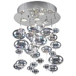 4 Light Bubbles Ceiling Mount Chandelier in Chrome Finish with Rainbow Glass - Joshua Marshal 700071-001
