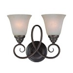 "Cordova Collection 2-Light 14"" Old Bronze Wall Sconce with Faux Alabaster Glass Shade 25022-OB"