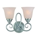 "Cordova Collection 2-Light 14"" Satin Nickel Wall Sconce with Faux Alabaster Glass Shade 25022-SN"