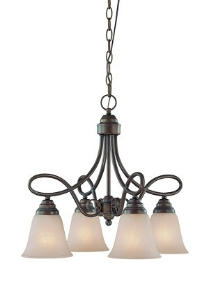 "Cordova Collection 4-Light 19"" Old Bronze Down Chandelier with Faux Alabaster Glass Shade 25024-OB"