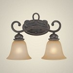 "Highland Place Collection 2-Light 16"" Mocha Bronze Wall Sconce with Painted Etched Glass Shade 25202-MB"