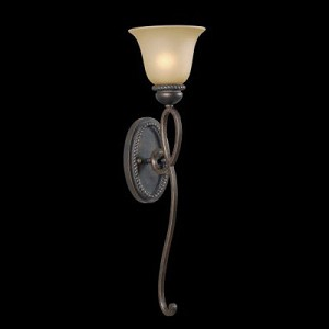 "Highland Place Collection 1-Light 26"" Mocha Bronze Wall Sconce with Painted Etched Glass Shade 25231-MB"