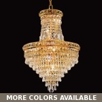 Invisible Design 12-Light 27'' Gold or Chrome Chandelier with European or Swarovski Crystals SKU# 10360