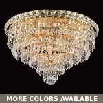 "Invisible Design 6-Light 16"" Chrome or Gold Ceiling Flush Mount with European or Swarovski Crystals SKU# 10366"