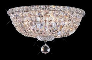 "Invisible Design 4-Light 10"" Chrome or Gold Ceiling Flush Mount with European or Swarovski Crystals SKU# 15861"