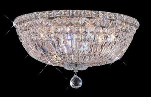 "Invisible Design 6-Light 16"" Chrome or Gold Ceiling Flush Mount with European or European Crystals SKU# 11370"
