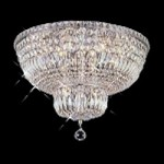 "Invisible Design 10-Light 20"" Chrome or Gold Ceiling Flush Mount with European or Swarovski Crystals SKU# 11372"