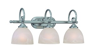 "Raleigh Collection 3-Light 23"" Satin Nickel Bath Vanity Fixture with Faux Alabaster Glass Shade 25303-SN"