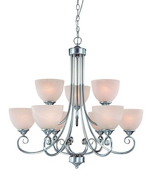 "Raleigh Collection 9-Light 31"" Satin Nickel Chandelier with Faux Alabaster Glass Shade 25329-SN"