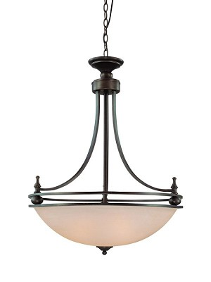 "Seymour Collection 4-Light 34"" Old Bronze Pendant with Painted Alabaster Glass Shade 25434-OB"
