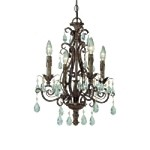 "Englewood Collection 4-Light 20"" French Roast Convertible Mini Chandelier with Crystal Accents 25624-FR"