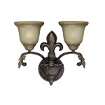 "Devereaux Collection 2-Light 16"" Burleson Bronze Wall Sconce with Clear Painted Etched Glass Shade 25732-BBZ"