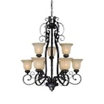 "La Grange Collection 9-Light 40"" Seville Iron Chandelier with Clear Painted Etched Glass Shade 25829-SI"