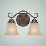 "Gatewick Collection 2-Light 15"" Century Bronze Wall Sconce with Glass Shade 26002-CB"