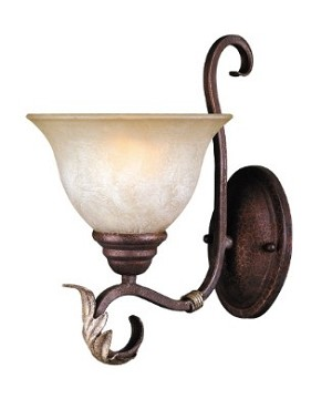 "Olympus Tradition Collection 1-Light 7"" Crackled Bronze Wall Sconce with Handmade Tea-Stained Glass 2622-24"