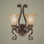 "Kingsley Collection 2-Light 18"" Century Bronze Wall Sconce with Glass Shade 26532-CB"