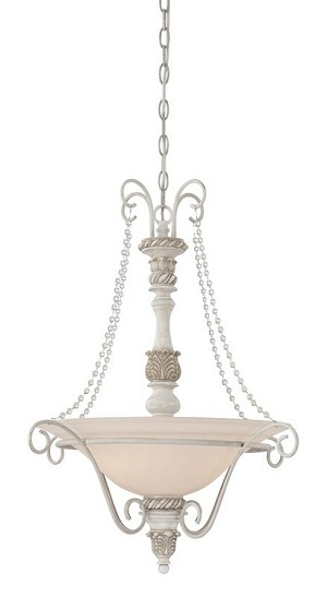 "Zoe Collection 3-Light 25"" Antique Linen Pendant with Glass Shade 27333-ATL"
