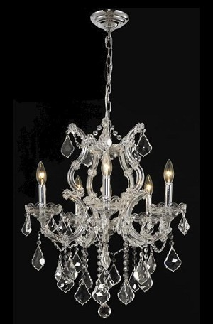 "Maria Theresa 6-Light 20"" Chrome or Gold Crystal Chandelier with European or Swarovski Crystals SKU# 10406"