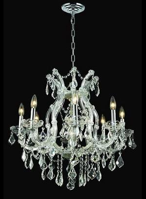 "Maria Theresa 9-Light 26"" Chrome or Gold Chandelier with Swarovski or European Crystals SKU# 10407"