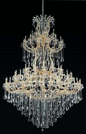 "Maria Theresa 85-Light 96"" Chrome or Gold Crystal Chandelier with Swarovski Crystals or European Crystals SKU# 36993"