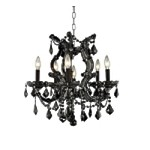 "Maria Theresa Collection 6-Light 25"" Black Crystal Mini Chandelier 2800D20B"