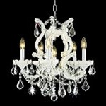 "Maria Theresa Collection 6-Light 25"" White Crystal Mini Chandelier 2800D20WH"