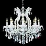 "Maria Theresa Collection 9-Light 26"" White Crystal Chandelier 2800D26WH"