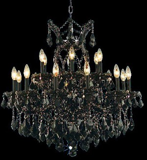 "Maria Theresa Collection 19-Light 30"" Black Crystal Chandelier 2800D30B"