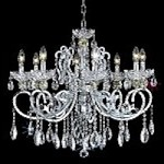 "Aria Collection 8-Light 29"" Chrome Clear Crystal Chandelier 2830D29C"