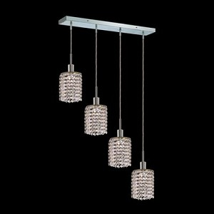 "Hollywood Design 4-Light 26"" Linear Round Adjustable Pendants with 30% Lead or Swarovski Spectra Crystal SKU# 11471"