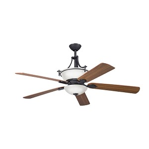 "Olympia Collection 60"" Distressed Black Ceiling Fan with Reversible Cherry/Walnut Blades 300011DBK"