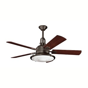 "Kittery Point Collection 52"" Olde Bronze Ceiling Fan with Reversible Medium Cherry & Walnut Blades 300020 OZ"