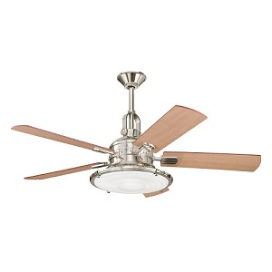 "Kittery Point Collection 52"" Polished Nickel Ceiling Fan with Reversible Maple & Sapelle Cherry Blades 300020 PN"