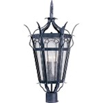 "Cathedral Collection 3-Light 29"" Country Forge Outdoor Post Light with Seedy Glass 30040CDCF"