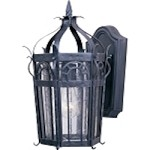 "Cathedral Collection 1-Light 15"" Country Forge Outdoor Wall Lantern with Seedy Glass 30041CDCF"