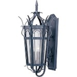 "Cathedral Collection 3-Light 27"" Country Forge Outdoor Wall Lantern with Seedy Glass 30042CDCF"