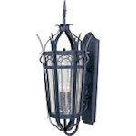 "Cathedral Collection 3-Light 37"" Country Forge Outdoor Wall Lantern with Seedy Glass 30043CDCF"