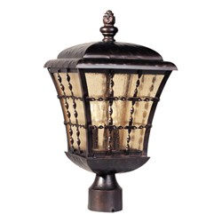 "Orleans Collection 3-Light 18"" Oil Rubbed Bronze Outdoor Post Mount Lantern with Amber Seedy Glass 30490ASOI"