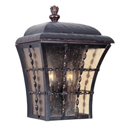 "Orleans Collection 2-Light 13"" Oil Rubbed Bronze Outdoor Wall Lantern with Amber Seedy Glass 30494ASOI"