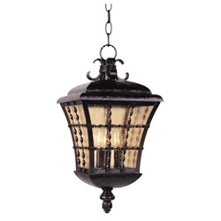 "Orleans Collection 3-Light 19"" Oil Rubbed Bronze Outdoor Hanging Lantern with Amber Seedy Glass 30498ASOI"