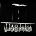 "Chorus Line Collection 10-Light 40"" Chrome Linear Crystal Pendant Chandelier 3100D40C"