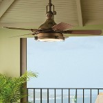 "Hatteras Bay 44"" Weathered Copper Outdoor Ceiling Fan with Fresnel Light Kit 310101WCP"