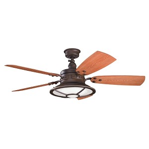 "Harbour Walk Patio Collection 52"" Tannery Bronze Ceiling Fan with Reversible Walnut/Cherry Blades 310102TZP"