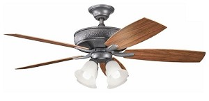 "Monarch II Patio Collection 52"" Weathered Steel Powder Coat Ceiling Fan with Reversible Walnut/Teak Blades 310103WSP"